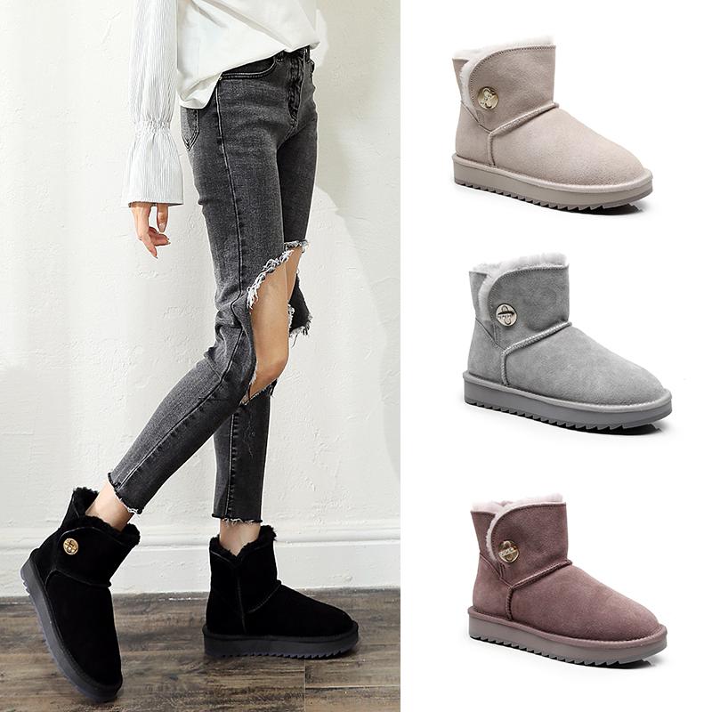 斐影冬季羊皮毛一体雪地靴女短筒保暖棉靴水钻纽扣防水短靴经典款