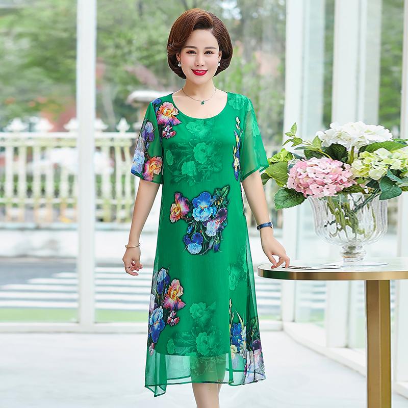 2020夏装新款胖妈妈中老年女中长款加肥加大码杭州重磅真丝连衣裙