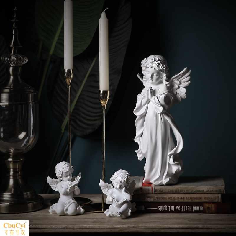 【】北欧复古天使艺术品雕塑家居饰品石膏雕像工艺品小摆件