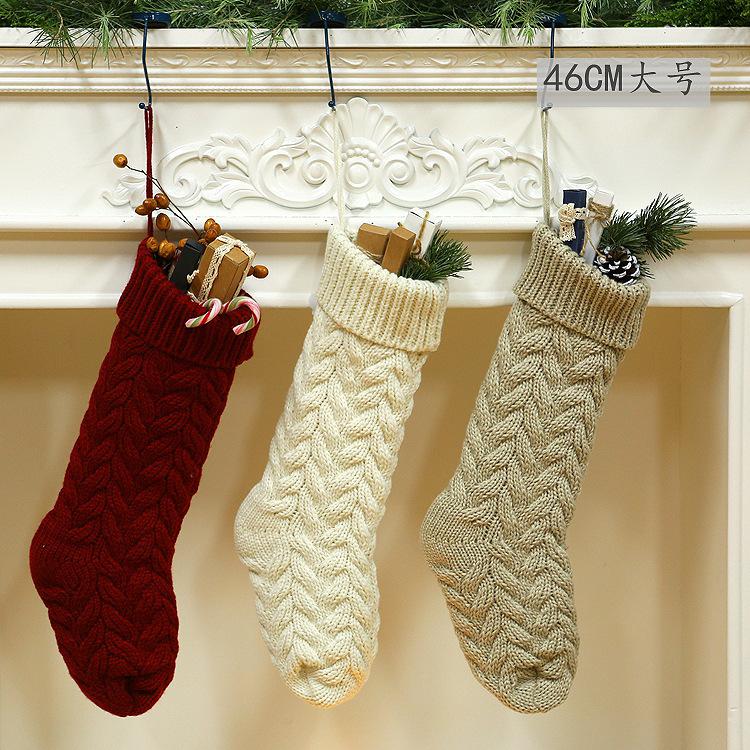 欧美装饰品针织毛线挂饰礼物袋亚马逊麻花树叶花大号46糖果圣诞袜