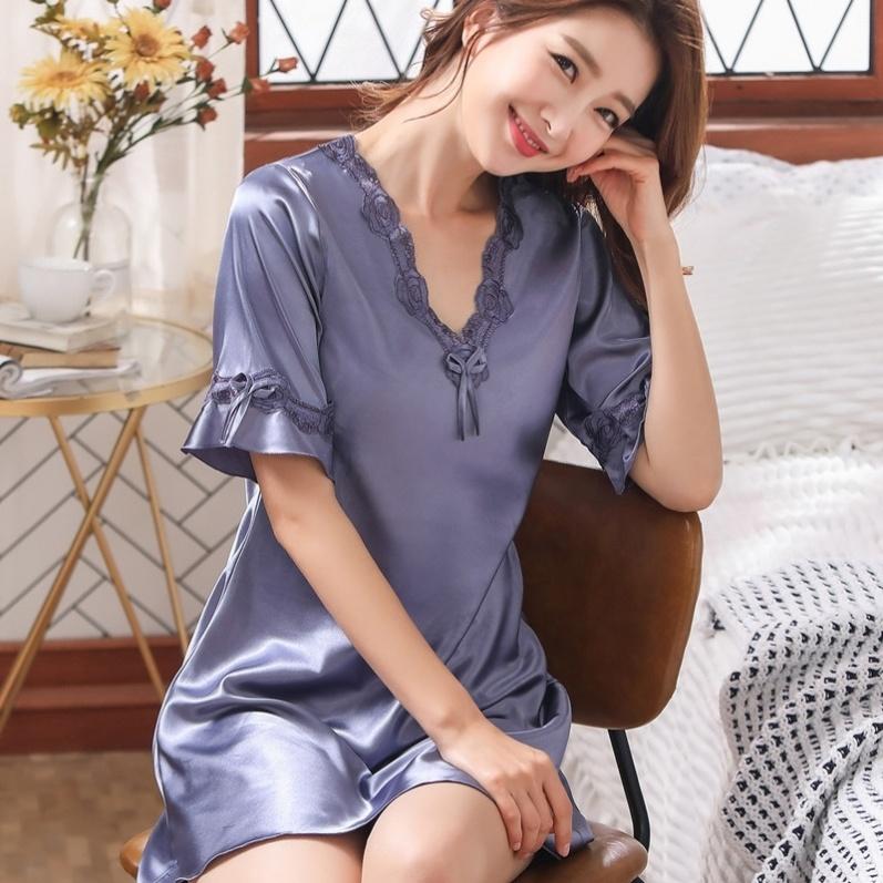 Pajamas women summer skirt lactation fashion nightdress ice silk middle skirt home dress thin short sleeve lace large sweet