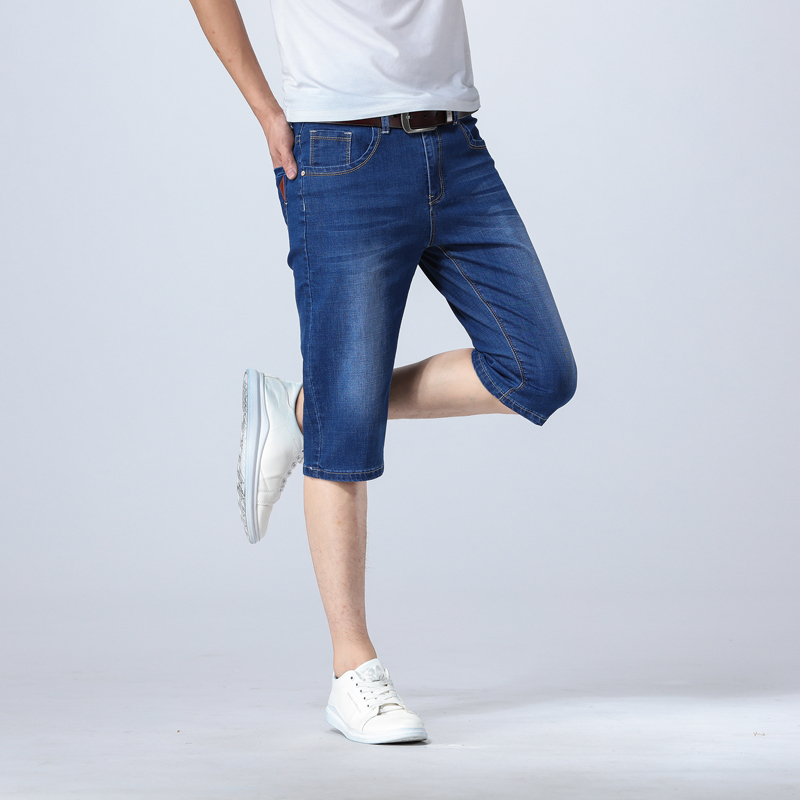 Summer thin mens jeans shorts mens loose straight pants 7 / 7 jeans elastic breeches casual pants