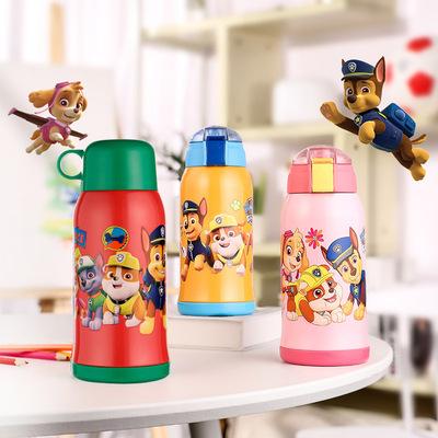 5格非尔汪汪带吸管两用不锈钢水杯防摔幼儿园小学生杯 保温杯儿童