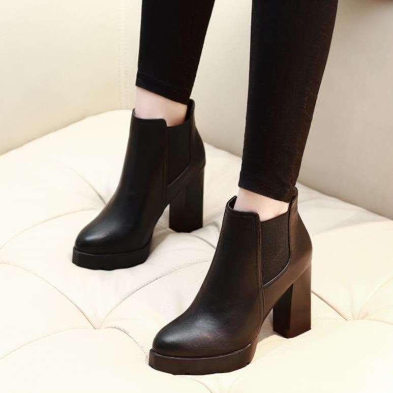 High heeled shoes thick heeled waterproof short boots short boots high heeled womens boots Plush professional womens shoes in autumn and winter