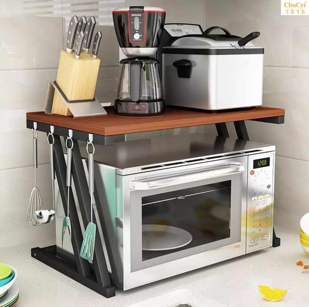 厨房微波炉置物架双层落地架储物收纳架调料架多功能桌面烤箱架子