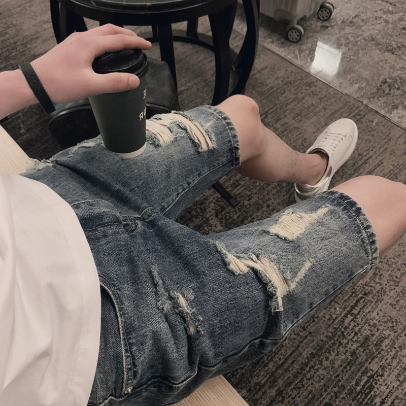 Casual jeans new mens wear summer mens jeans shorts mens slim fit thin straight elastic Capris