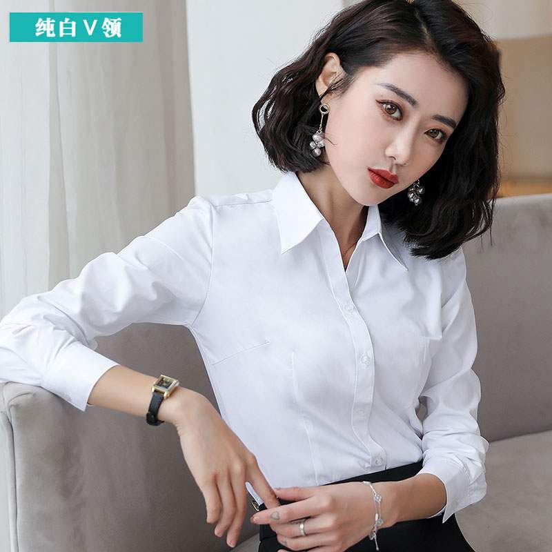 Spring and autumn new pure cotton white shirt womens Korean version casual and versatile slim fit slim embroidered soft long sleeve bottomed top