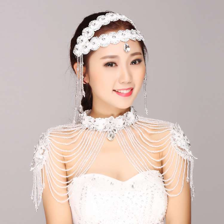 Jewelry first butterfly bride shoulder chain necklace wedding headdress flower hair decoration atmosphere wedding dress accessories lace shoulder