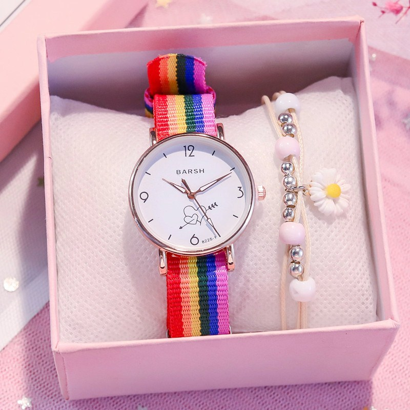 Simple temperament girl heart Harajuku Mori Department canvas watch girl fashion student candy color lovely soft girl Japanese Department