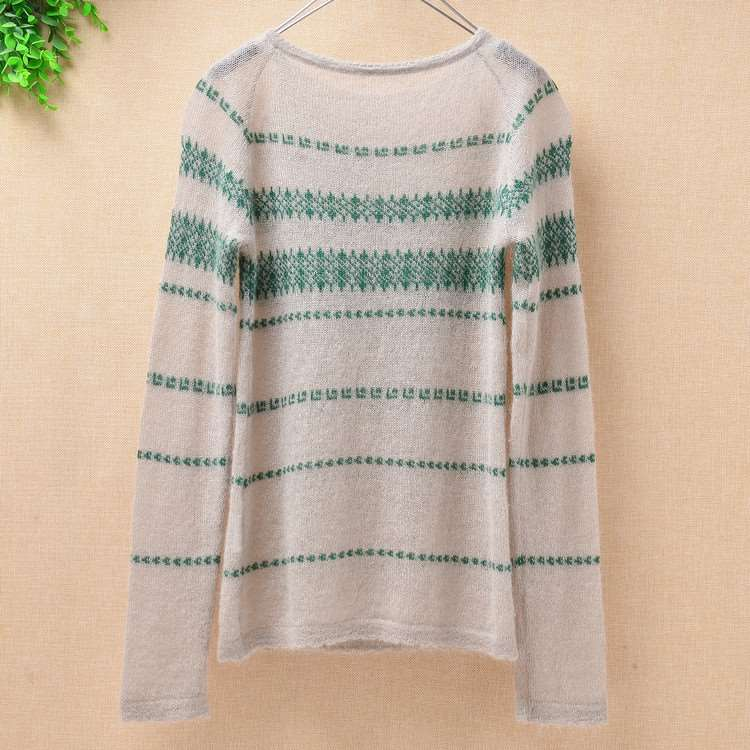 Korean version sweet wind autumn and winter new thin stripe embroidered knitting bottomed Mohair Pullover students wool dress