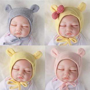 嬰兒帽子秋冬雙層純棉韓版女寶寶胎帽公主帽可愛超萌男嬰帽3-六月