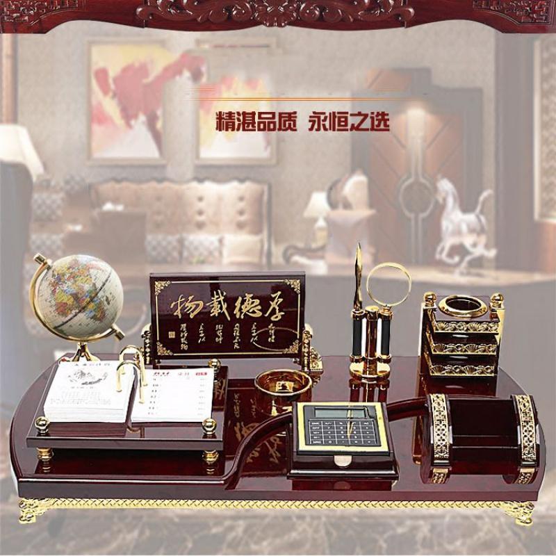 高档办公桌摆件装饰品老板办公室桌面创意文台笔筒招财送领导礼品