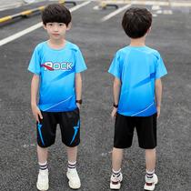 2019新款男童夏季装帅气运动短袖薄款速干篮足球服套装中大童男孩