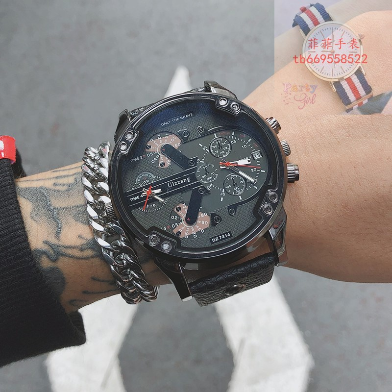 Mens quartz watch male students trend black technology personality female domineering Europe and the United States cool concept fashion large dial