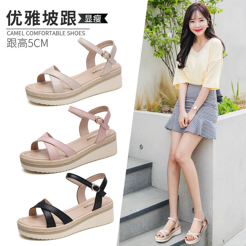 Sandals womens 2020 new summer versatile medium heel flat shoes fashion womens thick bottom muffin slope heel mom casual shoes