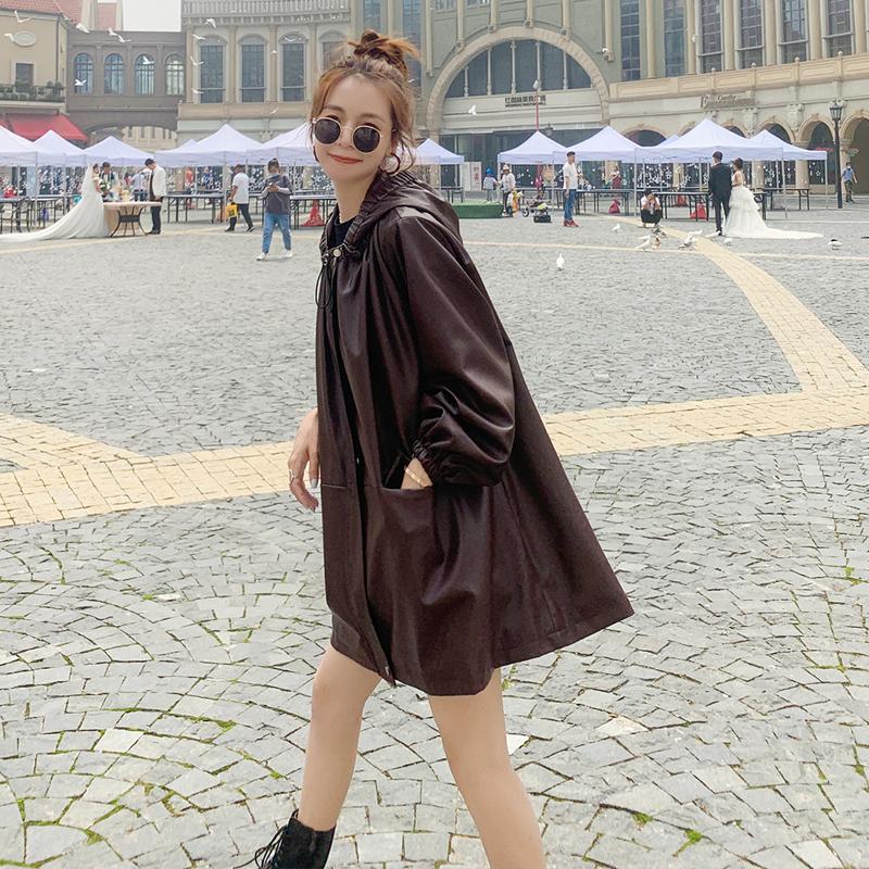 Retro Cape fur coat women loose Korean 2021 spring new trend fashion fried Street hooded Pu jacket