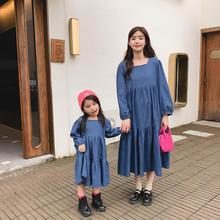 裙亲子装母女装韩版牛仔裙2020春秋洋气连衣裙新款潮时装女童