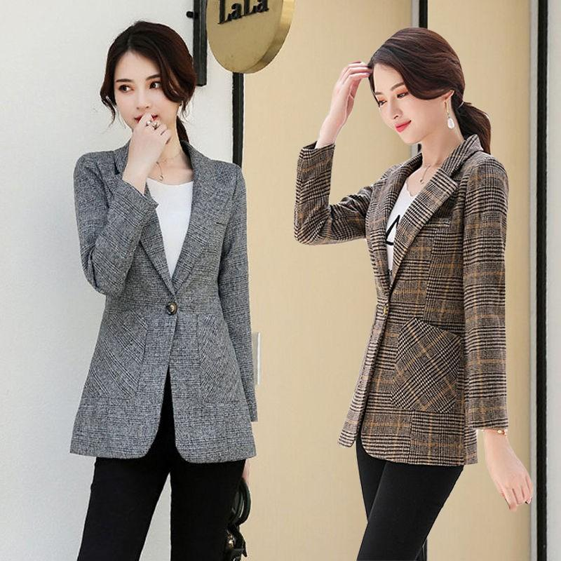 Autumn and winter 2019 womens Korean version casual Blazer slim fit all over plaid coat young and middle-aged handsome top