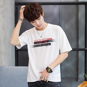 2019新款夏季男士短袖t恤打底衫男装圆领体恤潮流个性半袖上衣服