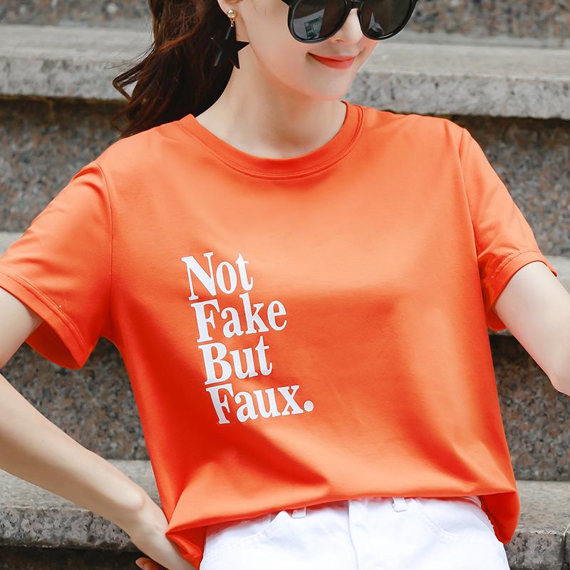 满52.00元可用1元优惠券橙色女短夏装2019新款韩版纯棉t恤