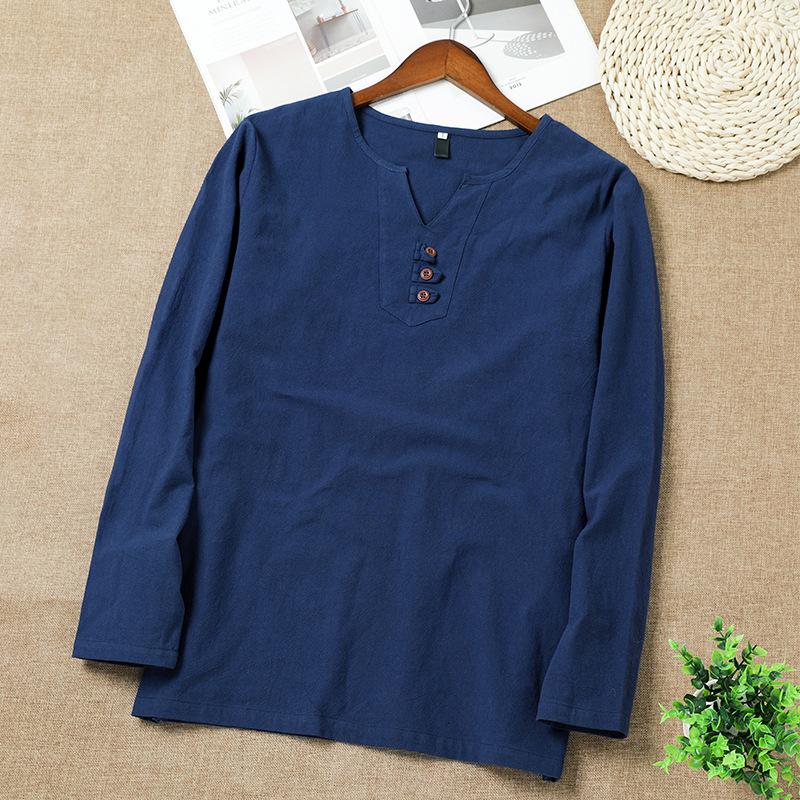 XZ1111-9002-P20新款复古中国风秋季长袖t恤男长袖T恤棉麻上衣