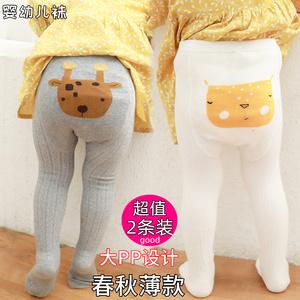 2宝宝婴儿打底裤春秋薄款裤袜女童婴纯棉1-3-5岁男童大屁屁连体袜