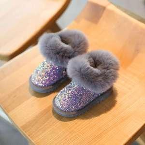 女宝宝雪地靴冬季鞋子加绒小童1一3岁2婴儿短靴女童棉鞋儿童学步
