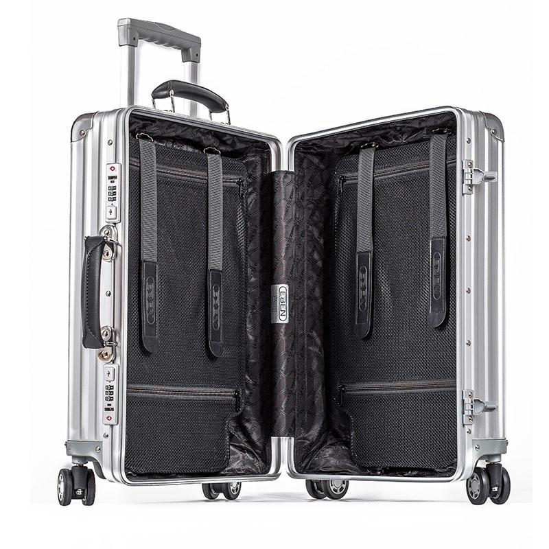 复古行李箱铝镁合金拉杆箱纯色箱包万向轮旅行箱20/26/28寸