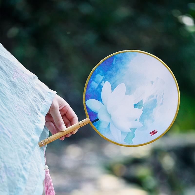 包邮中国风古典汉服双面团扇宫扇舞蹈演出绢布圆扇女士扇子可定制