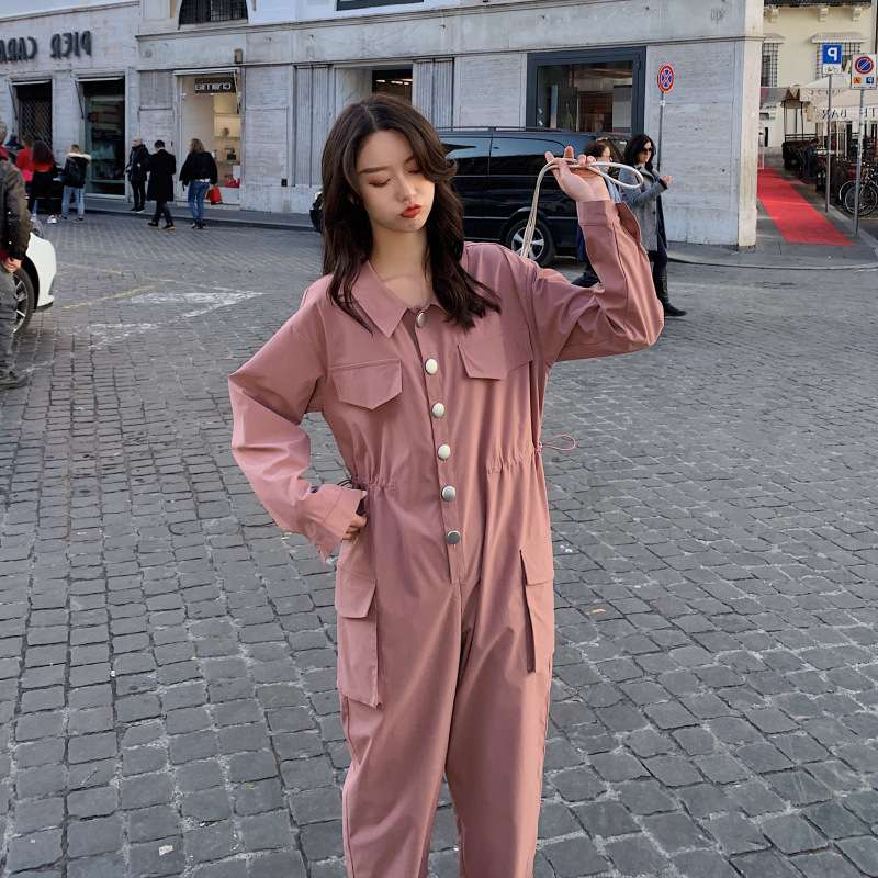 Womens Jumpsuit 2020 spring dress, foreign girl, pink drawstring, waistband, womens jumpsuit, autumn cool