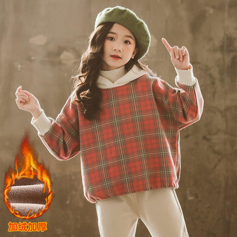 Chinese girls hooded sweater with plush and Western style high collar fake two piece sweater thick winter coat 2021 NEW