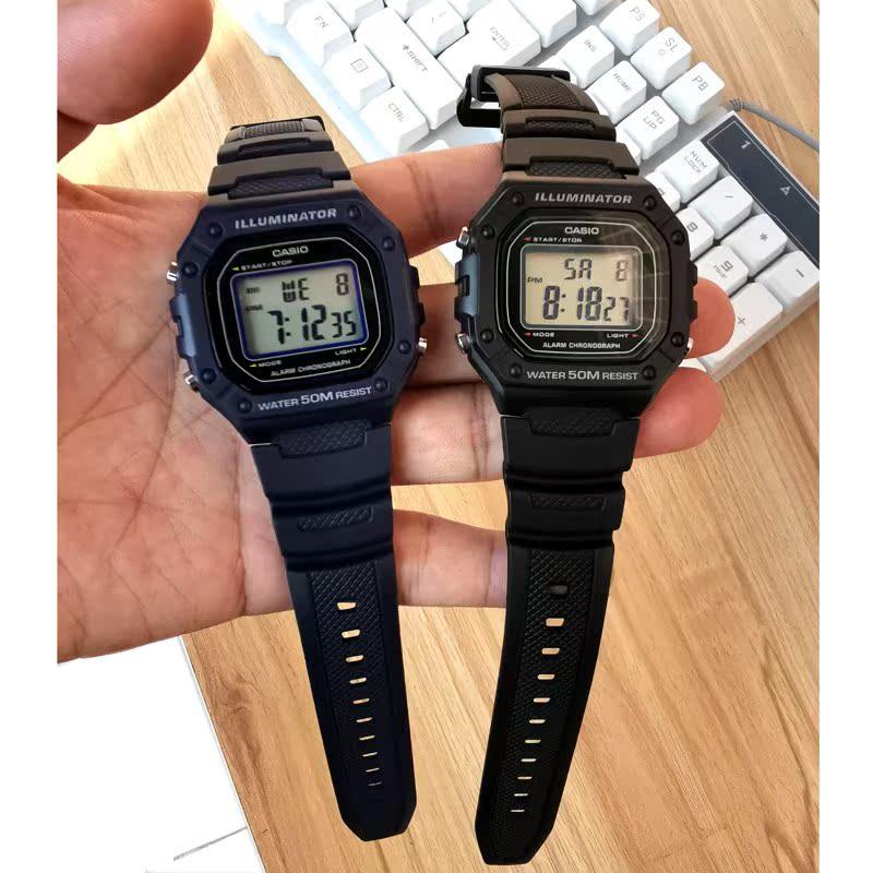 卡西欧运动手表男  女学生电子小方表 耐用防水潮流时尚腕表