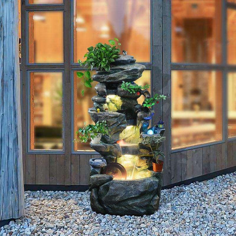 家庭築山流水噴水魚池オープンテラス入戸会所花園新奇住宅景観団地