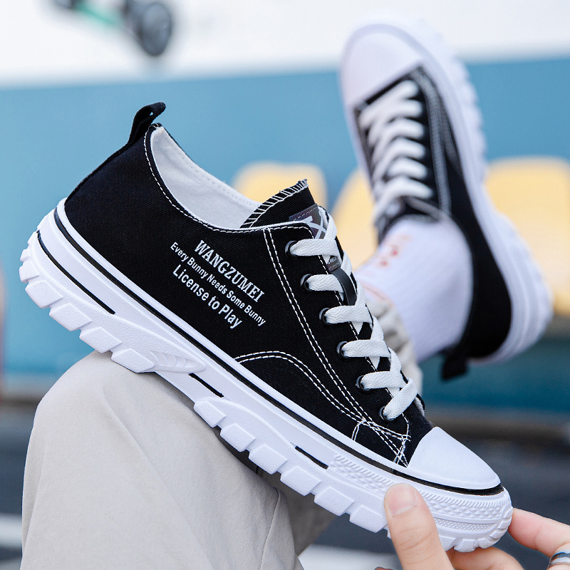 2021 autumn new lightweight breathable low top board shoes fashion canvas shoes Korean fashion Hong Kong style casual mens shoes