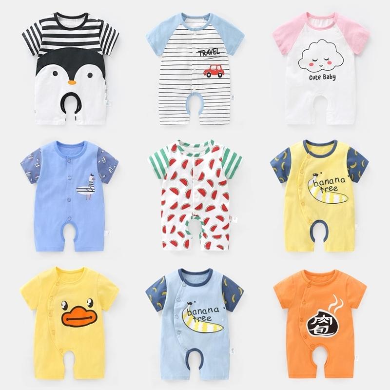 婴儿开裆胸开扣连体衣服男夏季新生儿0女宝宝3个月6平角哈衣Y3642,可领取3元天猫优惠券