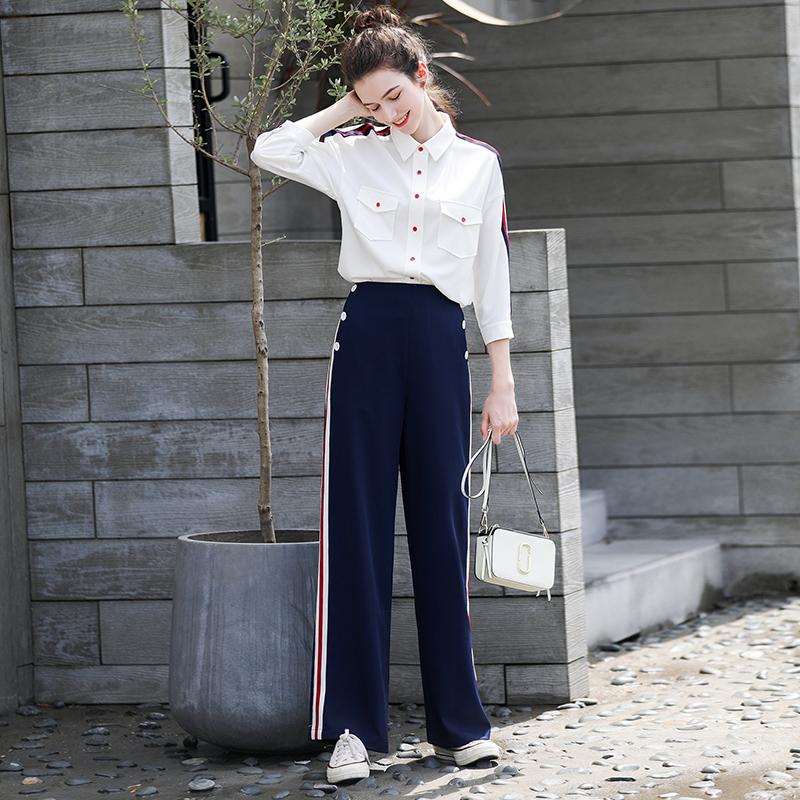 PIPO早秋工装休闲套装女2019新款潮韩版气质阔腿裤时尚裤子两件套