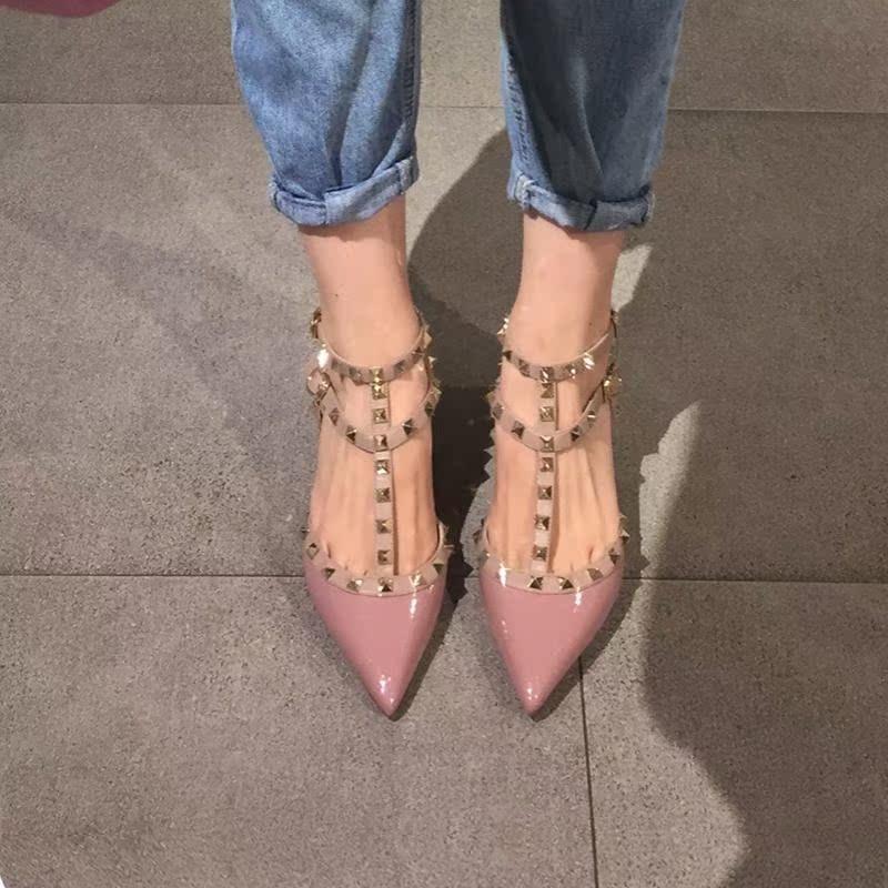 尖头单鞋女2021春季新款百搭铆钉性感中空高跟鞋女时尚包头凉鞋女