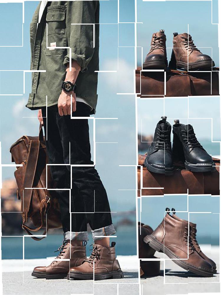 ins马丁靴男低帮英伦风马丁男鞋子工装鞋沙漠靴靴子短靴军靴复。