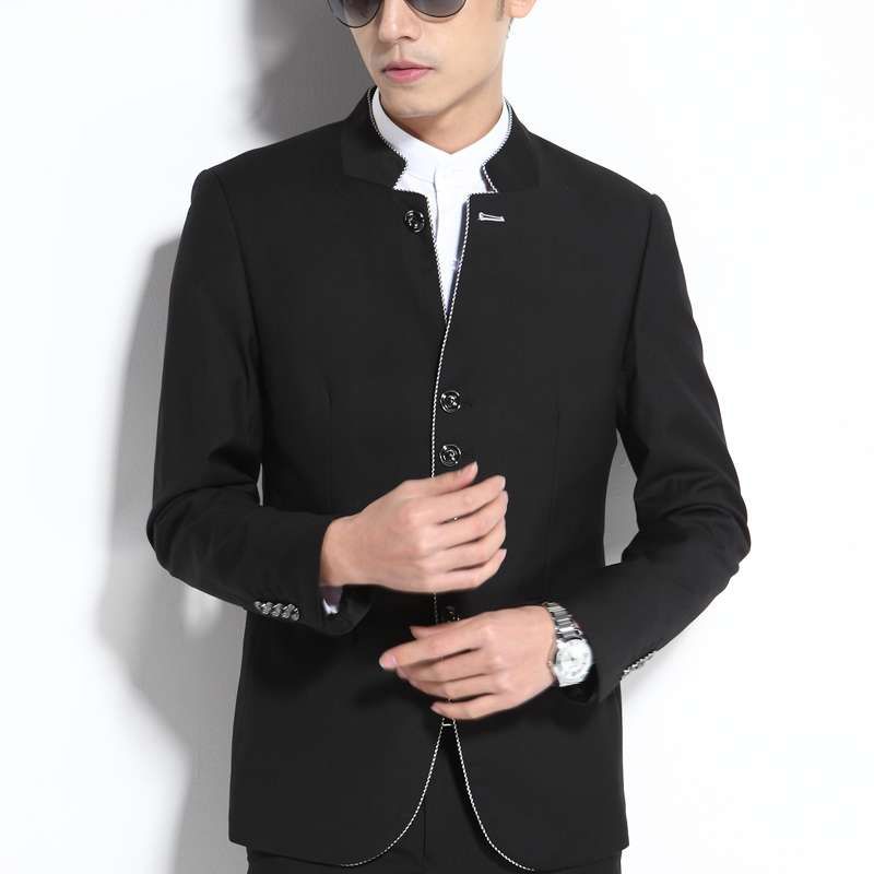 Stand up collar suit for mens stand up collar suit for leisure and self-cultivation youth solid color iron free Chinese round neck suit for autumn