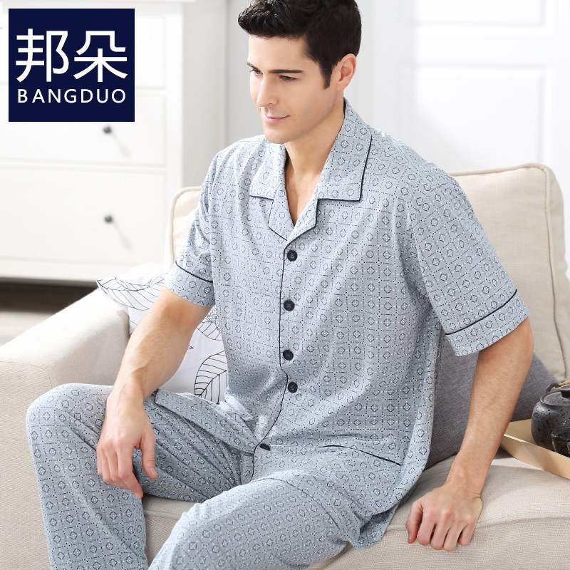 Mens pajamas summer short sleeve pure cotton thin fattening plus size mens middle aged and elderly mens home wear set