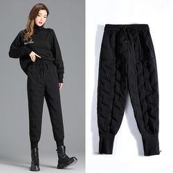 羽绒裤女外穿时尚宽松高腰2020年新款哈伦束脚加绒加厚保暖棉裤冬