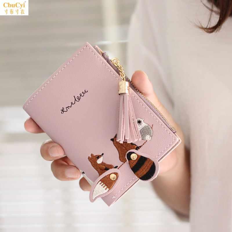 Xiaoqingxin womens embroidered lovely cartoon wallet Korean Short tassel zipper 2 fold folding change bag card