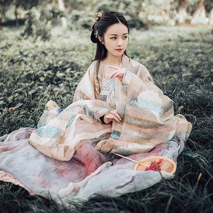 漢服女長生殿廣袖傳統古裝仙女大袖衫對襟齊胸襦裙套裝春秋