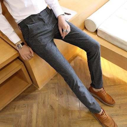春季男裤男士格子休闲裤商务西裤韩版修身直筒英伦方格长裤小脚潮