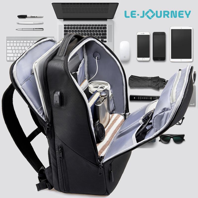 商务双肩包男大容量短途出差旅行包15寸防盗电脑包多功能男士背包
