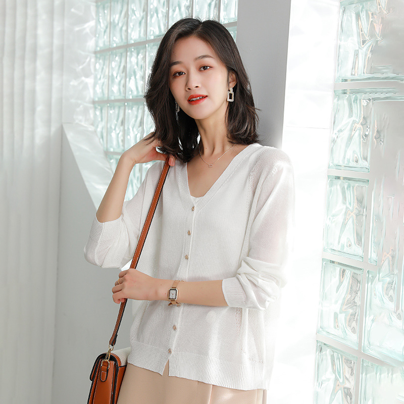 2021 spring new knitwear womens thin cardigan solid basic knitted jacket womens long sleeve sunscreen shirt