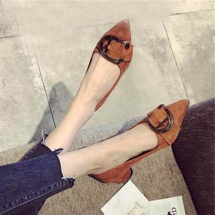粗跟鞋女韩版2018春春季新款尖头中跟鞋女鞋舒适百搭低跟浅口单鞋