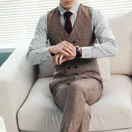 双排扣韩版休闲修身男士西装马甲英伦风复古马夹背心伴郎团礼服潮