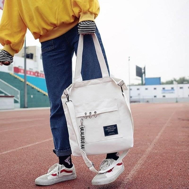 日韩系铁环挂件帆布兜子单肩文艺简约学生女包  购物袋女士包袋