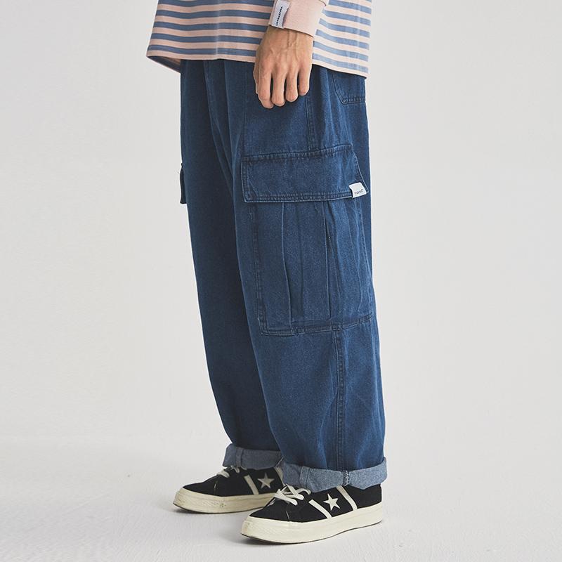 Early autumn AMI Khaki retro Japanese overalls loose wide leg pants ins daddy pants jeans pants men